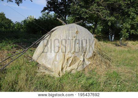 Haystack. A Haystack Of Grass Hay. Hay Making.