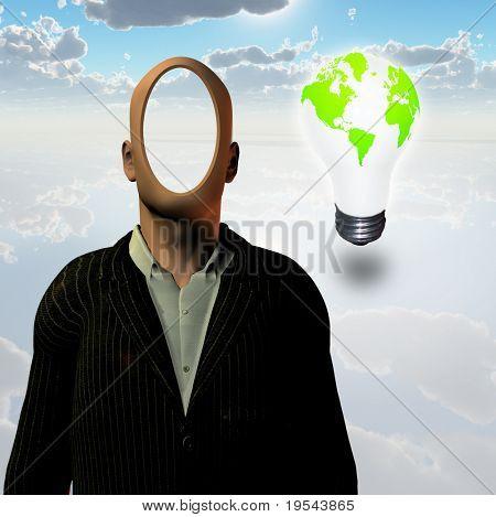 Faceless businessman and eco bulb