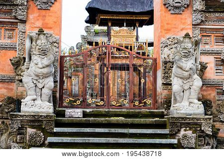 Traditional Temple Entrance In Ubud, Bali