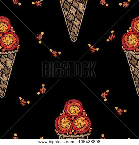 Seamless pattern Ice cream embroidery stitches imitation. Fashion embroidery ice cream on black background. Embroidery food seamless vector.