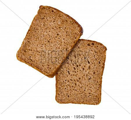 Two Sliced Of Rye Bread, Isolated On A White Background
