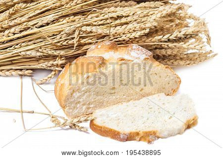 Round loaf of unleavened wheat bread with a cut piece on the background of ripe wheat ears
