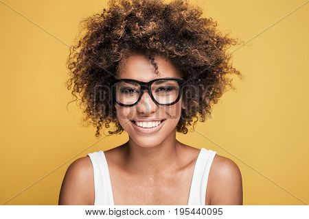 African American Girl Wearing Eyeglasses,smiling.