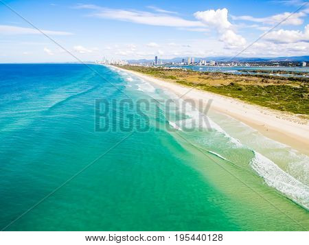 An aerial photo from the Spit on the Gold Coast looking back towards Surfers Paradise