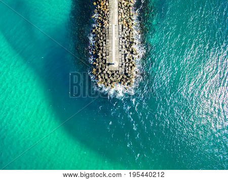 An aerial photo of the Seaway wall at the Spit on the Gold Coast