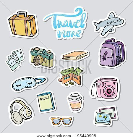 Set travel sticker. Traveling icons with suitcase bag briefcase and backpack detailed items