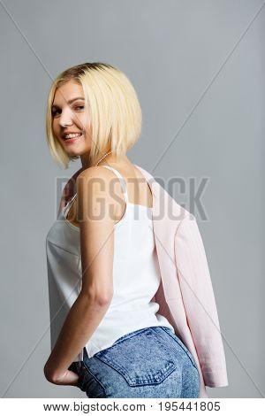 Beautiful blonde on empty background