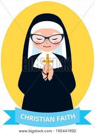 Emblem of an old Christian nun praying vector illustration