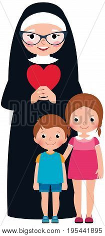 Senior nun and children girl and boy cartoon vector illustration