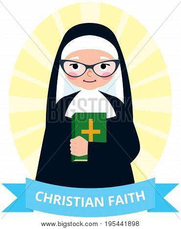 Senior nun with a bible in hand cartoon vector illustration
