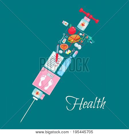 Health poster of syringe symbol with medical and healthcare items. Sport barbells, weight scales and diet water or burger, pills and drugs and apple with human organs bladder or kidney