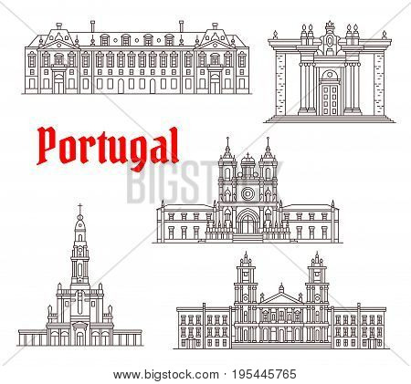 Portugal architecture and Portuguese famous landmark buildings. Vector isolated icons and facades of Coimbra Library, Fatima Sanctuary and Alcobaca Monastery or Mafra Palace and Foz Castle
