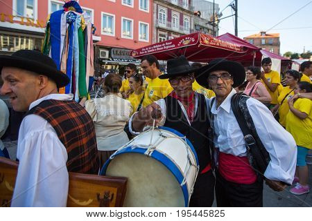 PORTO, PORTUGAL - JUL 15, 2017: Participants of the Porto folklore festival (Festival de Folclore do Orfeao do Porto).