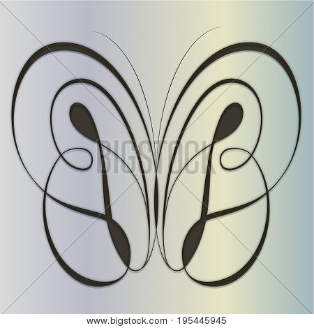 Stylized  calligraphic butterfly on a gradient background. EPS 10 Vector illustration