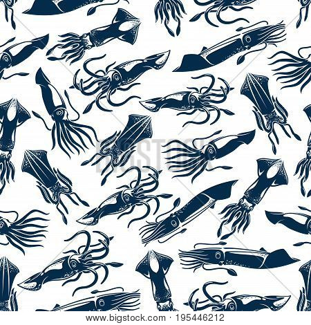 Seafood fishing seamless pattern of squid or ocean cuttlefish or calamari cephalopod species. Vector design for sea food restaurant sign, fishing club or fishery market