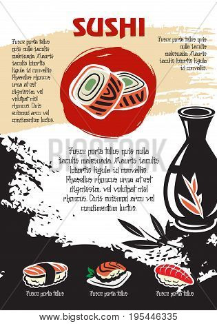 Japanese restaurant poster of sushi rolls, chopsticks and soy sauce in bottle. Vector design of noodles soup and seafood wok or tempura shrimps or fish on steamed rice for sushi bar menu