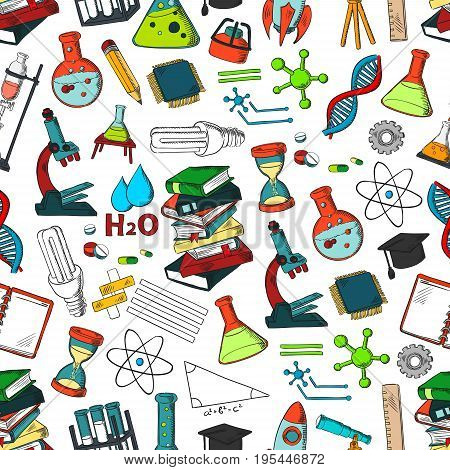 School and science supplies seamless pattern. Vector symbols of chemistry or biology microscope, chemistry beaker vials and atom formula, astronomy telescope or mathematics equation and geometry ruler