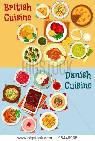 British and danish cuisine icon set. Fish vegetable stew, beef steak, cabbage and chicken salad, yorkshire pudding, fish soup, baked meat, potato, pie and pate, rice dessert, fruit bun, milk porridge