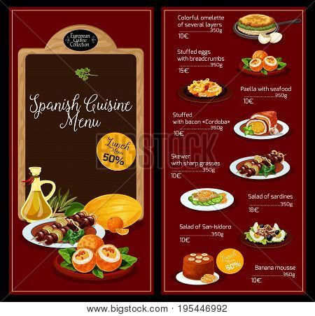Spanish cuisine vector menu of restaurant lunch of several layers omelette, stuffed eggs with breadcrumbs, seafood paella and stuffed bacon, skewer on sharp grasses, sardines salad or banana mousse