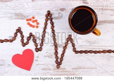 Cardiogram Line Made Of Coffee Grains, Cup Of Coffee And Supplement Pills