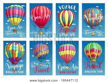 Hot air balloon tourist voyage cards or travel tour advertising posters for tourism agency or company. Vector design of hot air balloon adventure on Inflated hopper balloons with patterns