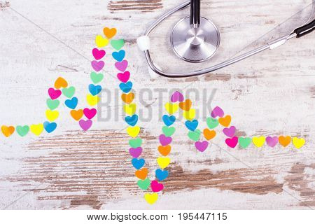 Cardiogram Line Made Of Paper Hearts And Stethoscope, Medicine And Healthcare Concept