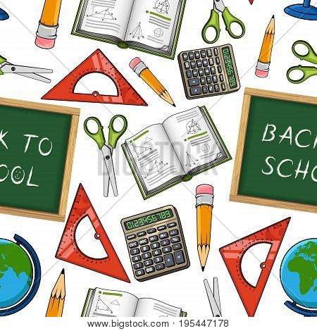 Back to School pattern of seamless vector school supplies and classes stationery. Blackboard, scissors and ruler or math calculator, geography globe and physics or chemistry book and notepad with pen