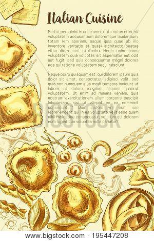 Pasta poster for Italian cuisine Vector design template for restaurant durum fettucine macaroni, spaghetti or ravioli and lasagna. Hand-crafted tagliatelle pasta, gobetti or farfalle and papardelle