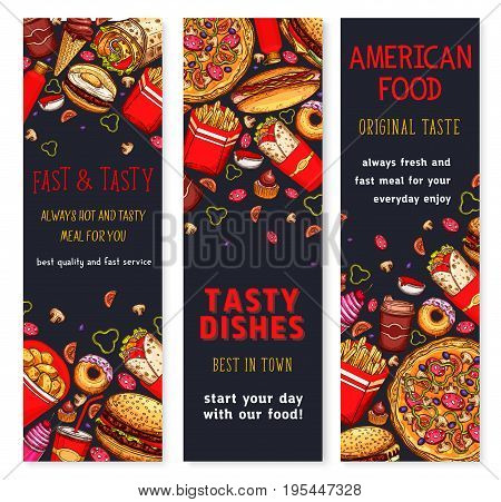 Fast food restaurant banners set of fastfood dishes cheeseburger, pizza and hot dog sandwich or chicken nuggets and french fries snacks. Vector meals of burgers, popcorn and donut cakes or ice cream