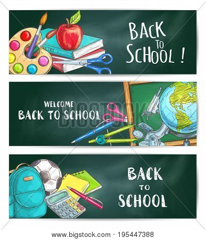 Back to School welcome banners on green blackboard background. Apple, backpack, rucksack, soccer ball, pen, calculator, pencil, copybook, scissors, globe compass chalk blackboard watercolor microscope