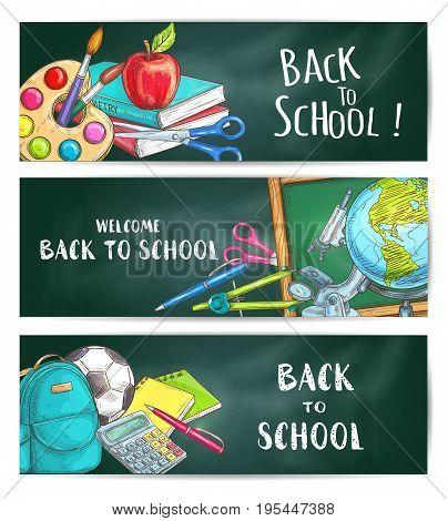 Back to School welcome banners on green blackboard background. Apple, backpack, rucksack, soccer ball, pen, calculator, pencil, copybook, scissors, globe compass chalk blackboard watercolor microscope
