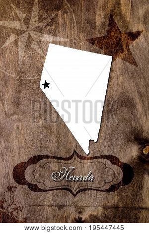 Poster Nevada state map outline. Styling for tourism.