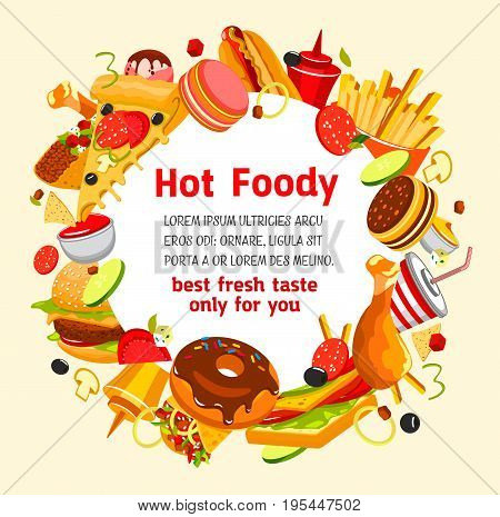 Fast food poster design of burrito wrap sandwich, cheeseburger or hamburger and chocolate donut dessert. Vector fastfood menu of drinks, pizza or chicken leg and french fries or hot dog combo meals