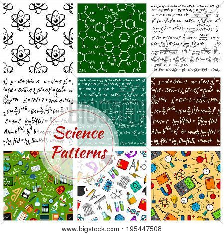 Science and knowledge seamless pattern of vector chemistry, astronomy or mathematics and physics items. Pattern of atom formula or microscope, globe and scientific school books, magnet and light bulb