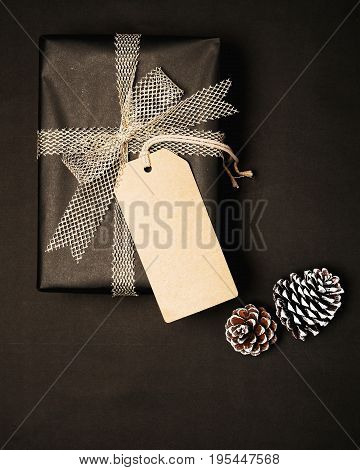 Christmas present gift boxes with tag for mock up template design. View from above. Creative Flat layout and top view composition with border and copy space design.