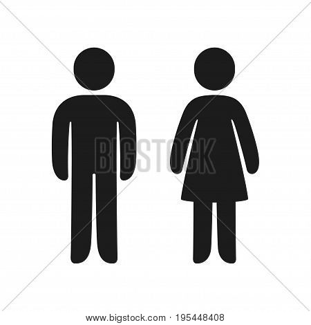 Man and Woman icons. Male and female bathroom signs simple and modern rounded human figures.