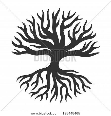 Abstract tree silhouette with roots in circle shape. Vector logo art design.