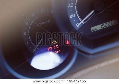 closeup car dashboard light and speedometer board