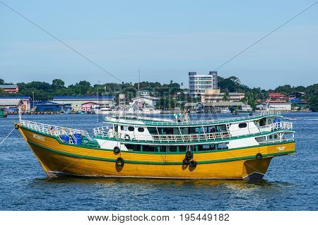 Labuan,Malaysia-June 26,2017:View of kumpit boat from the Philippines in Labuan free port,Malaysia.Its a trading vessel of the Philippine Islands.