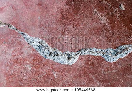closeup long broken concrete on the floor