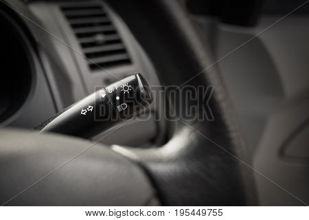 black wipers control button interior of car