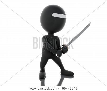 3D Ninja With Sword In Agressive Posture