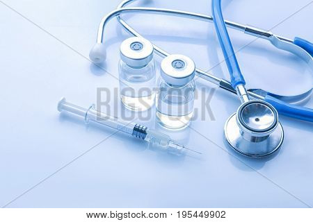 Medical supplies on light background. Vaccination concept