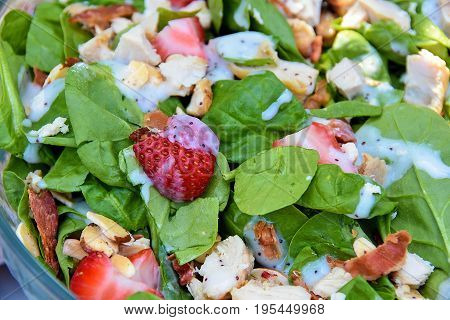 strawberries with chicken and almonds in lettuce salad