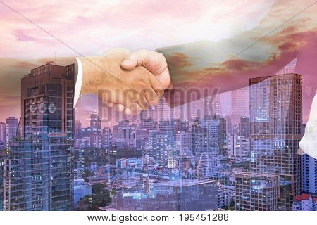 scene of hand shaking of businessman for commitment on double exposure filter - can use to display or montage on product