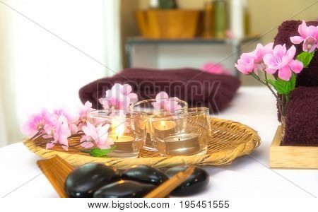Spa Thai setting for aroma therapy with flower on the bed relax and healthy care soft and select focus. Healthy Concept
