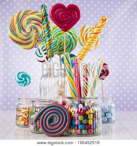 Colorful candies and lollipops, gumballs
