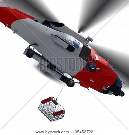 3d illustration of Coast guard helicopter with rescue basket during for rescue isolated.