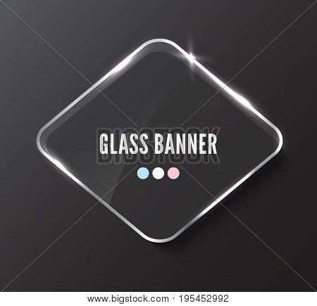 Rhombus glass banner with reflactions and glow, realistic vector illustration