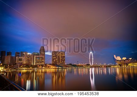 abstract marina bay in twilight time and cloud like strom - can use to display or montage on product